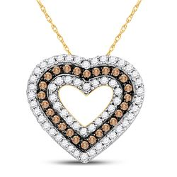 14kt Yellow Gold Round Brown Diamond Heart Outline Pendant 3/4 Cttw