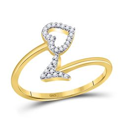 10kt Yellow Gold Round Diamond Heart Arrow Band Ring 1/10 Cttw