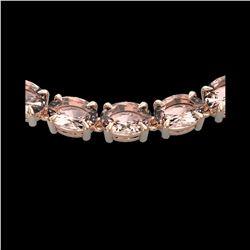 54 ctw Morganite Eternity Designer Necklace 14K Rose Gold