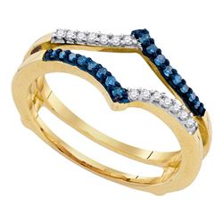 10kt Yellow Gold Round Blue Color Enhanced Diamond Ring Guard Wrap Enhancer Band 1/5 Cttw