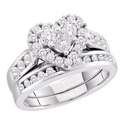 14kt White Gold Princess Round Diamond Heart Bridal Wedding Engagement Ring Band Set 1.00 Cttw