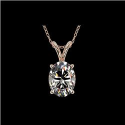 1.25 ctw Certified VS/SI Quality Oval Diamond Necklace 10K Rose Gold