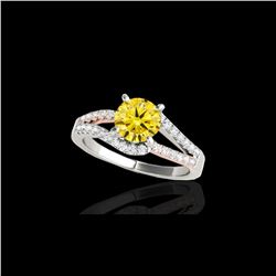 1.65 ctw Certified SI Intense Yellow Diamond Solitaire Ring 10K White & Rose Gold