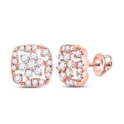 14kt Rose Gold Round Diamond Square Floral Cluster Earrings 3/8 Cttw
