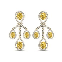 20.69 ctw Canary Citrine & VS Diamond Earrings 18K Yellow Gold