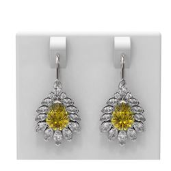 10.4 ctw Canary Citrine & Diamond Earrings 18K White Gold