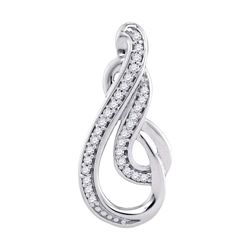 10kt White Gold Round Diamond Teardrop Curled Fashion Pendant 1/10 Cttw