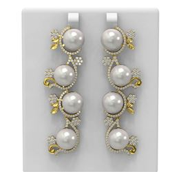 4.12 ctw Diamond and Pearl Earrings 18K Yellow Gold
