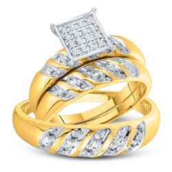 10kt Yellow Gold His Hers Round Diamond Cluster Matching Bridal Wedding Ring Band Set 1/12 Cttw