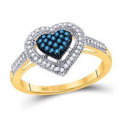 10kt Yellow Gold Round Blue Color Enhanced Diamond Framed Heart Ring 1/4 Cttw