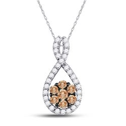 10kt White Gold Round Brown Diamond Cluster Pendant 3/8 Cttw