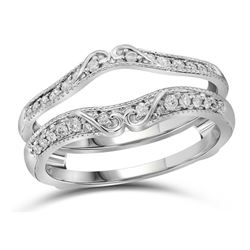 14kt White Gold Round Diamond Ring Guard Wrap Solitaire Enhancer 1/4 Cttw