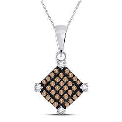 10kt White Gold Round Brown Diamond Square Pendant 1/6 Cttw