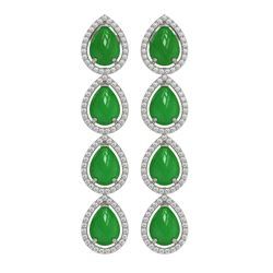 8.80 ctw Jade & Diamond Micro Pave Halo Earrings 10K White Gold