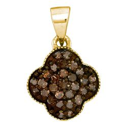 10kt Yellow Gold Round Brown Diamond Cluster Pendant 1/4 Cttw