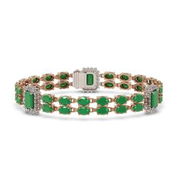 19.49 ctw Emerald & Diamond Bracelet 14K Rose Gold
