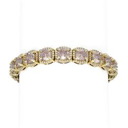 36.62 ctw Morganite & Diamond Bracelet 18K Yellow Gold