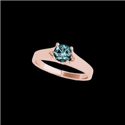 1 ctw SI Certified Fancy Blue Diamond Solitaire Ring 10K Rose Gold
