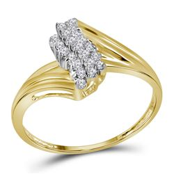 10kt Yellow Gold Round Prong-set Diamond Contoured Cluster Ring 1/6 Cttw