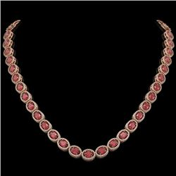 31.1 ctw Tourmaline & Diamond Micro Pave Halo Necklace 10K Rose Gold