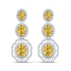 15.65 ctw Canary Citrine & VS Diamond Earrings 18K White Gold
