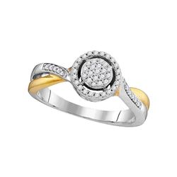 10kt Two-tone Gold Round Diamond Circle Cluster Bridal Wedding Engagement Ring 1/5 Cttw
