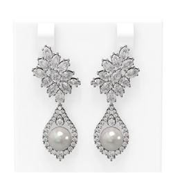 7.05 ctw Diamond and Pearl Earrings 18K White Gold