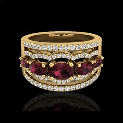 2.25 ctw Garnet & Micro Pave VS/SI Diamond Designer Ring 10K Yellow Gold