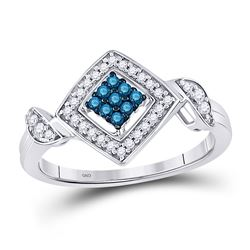 10kt White Gold Round Blue Color Enhanced Diamond Diagonal Square Cluster Ring 1/4 Cttw