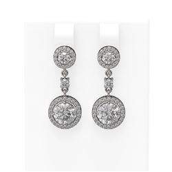 3.35 ctw Diamond Earrings 18K White Gold