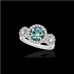 1.75 ctw SI Certified Fancy Blue Diamond Halo Ring 10K White Gold