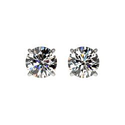 1.02 ctw Certified Quality Diamond Stud Earrings 10K White Gold