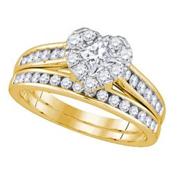 14kt Yellow Gold Princess Diamond Bridal Wedding Engagement Ring Band Set 1.00 Cttw