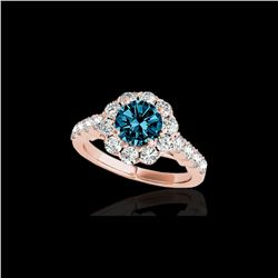3 ctw SI Certified Fancy Blue Diamond Solitaire Halo Ring 10K Rose Gold