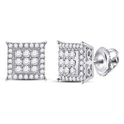 14kt White Gold Round Diamond Square Cluster Earrings 1/2 Cttw