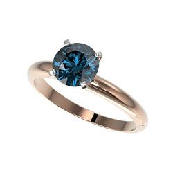 1.52 ctw Certified Intense Blue Diamond Engagement Ring 10K Rose Gold