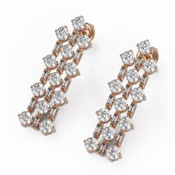 3.62 ctw Diamond Designer Earrings 18K Rose Gold