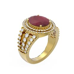 5.39 ctw Ruby & Diamond Ring 18K Yellow Gold