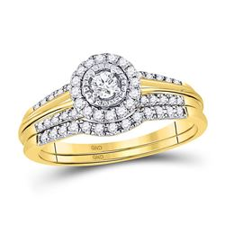 10kt Yellow Gold Round Diamond Bridal Wedding Engagement Ring Band Set 1/3 Cttw