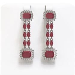 11.98 ctw Ruby & Diamond Earrings 14K White Gold