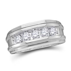 14kt White Gold Mens Round Diamond Wedding Channel Set Band Ring 1/4 Cttw