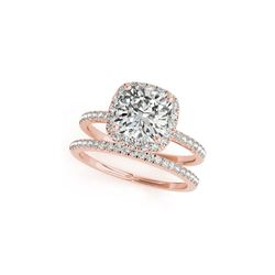 1.26 ctw Certified VS/SI Cushion Diamond 2pc Set Ring Halo 14K Rose Gold