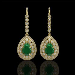 10.15 ctw Certified Emerald & Diamond Victorian Earrings 14K Yellow Gold