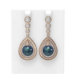 3.8 ctw Diamond and Pearl Earrings 18K Rose Gold