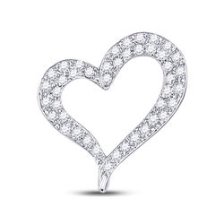 14kt White Gold Round Pave-set Diamond Heart Outline Pendant 1/3 Cttw