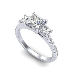 2.14 ctw Princess VS/SI Diamond Art Deco 3 Stone Ring 18K White Gold