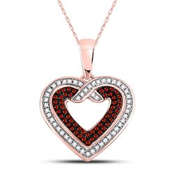 10kt Rose Gold Round Red Color Enhanced Diamond Heart Pendant 1/4 Cttw