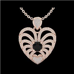 3.50 ctw Black & White Micro Diamond Heart Necklace 14K Rose Gold