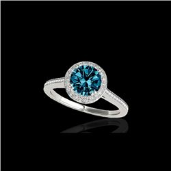 2.03 ctw SI Certified Fancy Blue Diamond Halo Ring 10K White Gold