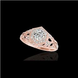 1.4 ctw Certified Diamond Solitaire Antique Ring 10K Rose Gold
